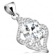 Ciondolo in argento 925 - zircone ovale, chiaro, foglia, contorni chiari, arcuati