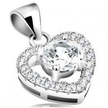 Ciondolo in argento 925, grande zircone chiaro in contorno cuore brillante