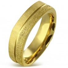 Anello in acciaio inox, colore dorato - striscia sabbiata e satinata, 7 mm