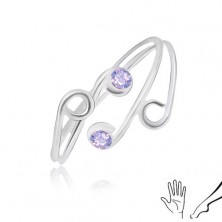 Anello in argento 925 per mano o gambe, lati sottili con zirconi viola