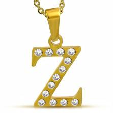 Ciondolo lucido in acciaio dorato, lettera Z incisa con zirconi chiari