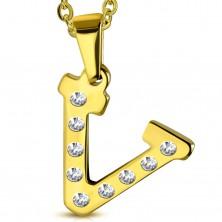 Ciondolo in acciaio dorato, lettera V incisa con zirconi chiari