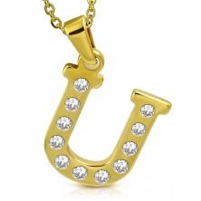 Ciondolo in acciaio inox, colore dorato, lettera di stampa U ornata con zirconi
