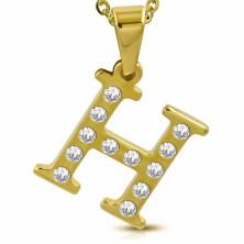 Ciondolo in acciaio dorato, lettera H incisa con zirconi chiari