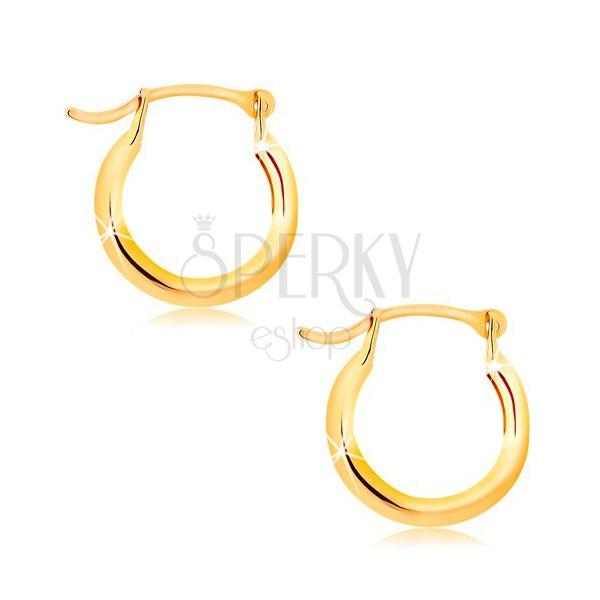 Top Orecchini in oro giallo 14K - piccoli cerchi lucidi, gancio  UO85