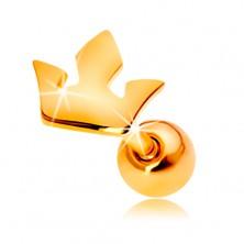Piercing all'orecchio in oro giallo 14K - piccola corona a tre punte
