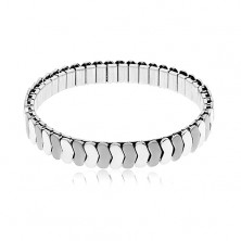 Bracciale in acciaio, colore argento, maglie elastiche, lucide ed opache