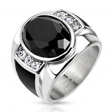 Anello in acciaio con ovale nero brillante, zirconi chiari e strisce nere