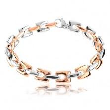 Bracciale in acciaio, maglie lucidi angolariin colore rame e argento