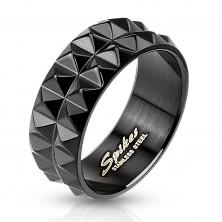 Anello in acciaio inox, nero con superficie brillante, 8 mm