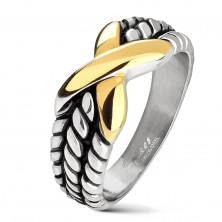 Anello in acciaio inox, intagli sui lati, X in colore dorato
