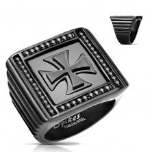 Anello grande in colore nero, acciaio 316L, zirconi, croce Maltese