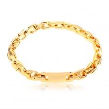 Bracciale in acciaio inox con piastrina, maglie angolari, colore dorato