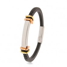 Bracciale in caucciù nero, piastrina liscia in acciaio, quadrati in colore rame e dorato