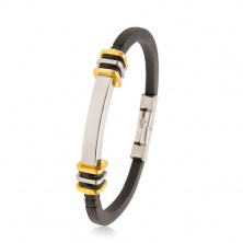Bracciale in caucciù nero, piastrina in acciaio, quadrati in colore argento e dorato