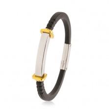 Bracciale in caucciù nero, piastrina liscia in acciaio, quadrati e cerchi dorati