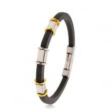 Bracciale nero in caucciù con intagli, decorazioni in acciaio, argento e dorato