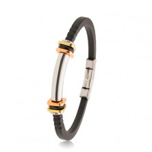 Bracciale in caucciù nero con intagli, cilindro in acciaio, quadrati in due colori