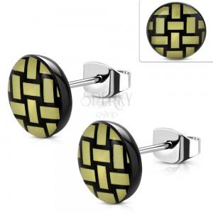 Orecchini in acciaio 316L, cerchio in acrilico con modello intrecciato giallo e nero