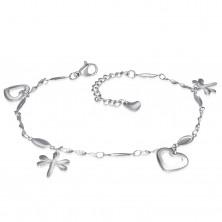 Bracciale in acciaio inox color argento, da mano o piede, ciondoli - cuori e libellule