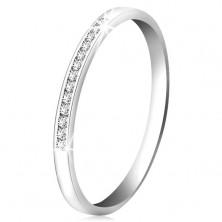 Anello in oro bianco 14K con diamante - linea brillante in piccoli diamanti chiari