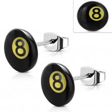 Orecchini in acciaio inox, pallina di biliardo numero 8 - nero e giallo