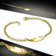 Bracciale in acciaio inox colore dorato, catena brillante, piuma