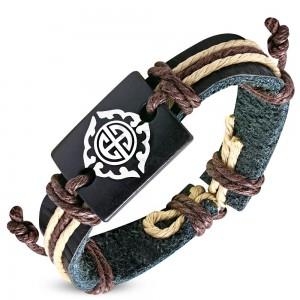Bracciale nero in pelle sintetica e strisce marrone, simbolo tribale