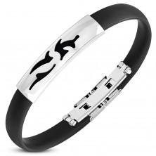 Bracciale in caucciù nero, targhetta in acciaio brillante con ritagli tribali
