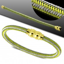 Bracciale in grigio e verde, modello intrecciato, fibbia magnetica dorata