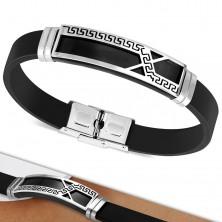 Bracciale in caucciù nero, targhetta con linea asimmetrica con modello chiave greca
