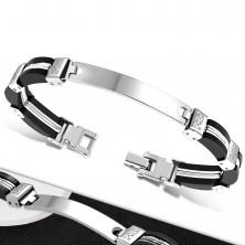 Bracciale in caucciù nero sui lati, acciaio con ritagli e targhetta