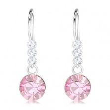 Orecchini in argento 925, cristalli Swarovski in colore chiaro e rosa chiaro