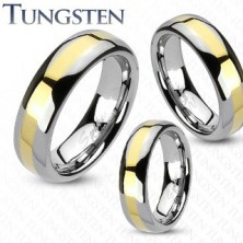 Anello in tungsteno - striscia color oro, 6 mm