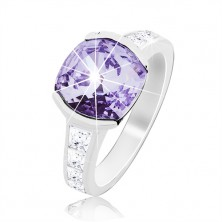 Anello in argento 935, zircone viola brillante, lati decorati
