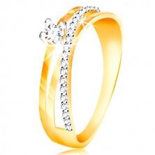 14K gold ring - diagonal zircon line in clear colour, circular zircon in a mount