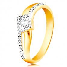 Anello in oro 14K - lati curvi e divisi, zircone rotondo a forma di rombo