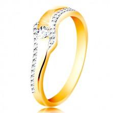 Anello in oro 14K - onda con zirconi chiari e linee brillanti sui lati