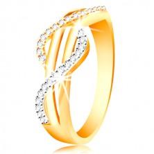 Anello in oro 585 - onde in zircone, oro bianco e giallo, strisce dritte lisce