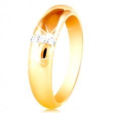 Anello in oro giallo 14K con superficie arrotondata e linea verticale in zircone