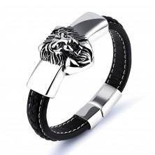 Bracciale in pelle sintetica nera, targhetta in color argento con leone