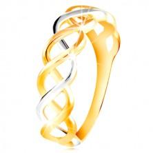 Anello in oro 14K in due colori - linee intrecciate in due colori