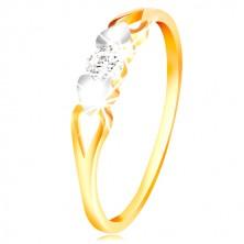 Anello in oro 585 - cuori in oro bianco, intagli e zircone chiaro nel centro