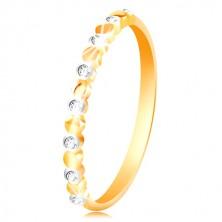 Anello in oro 585 bianco e giallo - cerchi in due colori e zirconi chiari