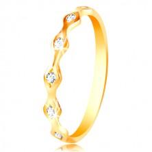 Anello in oro giallo 14K - ovali brillanti con zirconi chiari incastonati