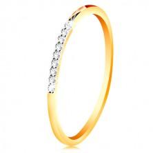 Anello in oro 14K - lati sottili, brillanti, linea in zircone chiaro, brillante