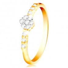 Anello in oro 14K - fiore brillante e chiaro, piccoli zirconi sui lati