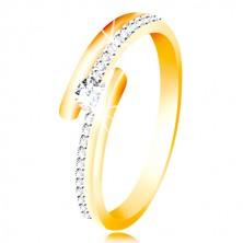 Anello in oro 585 - lati divisi, zircone sporgente, rotondo in color chiaro