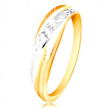 Anello in oro 585 - linea in oro bianco e giallo, superficie brillante