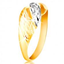 Anello in oro 585 - strisce sporgenti in oro bianco e giallo, intagli brillanti